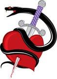 Snake knife heart Stock Photos