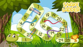 A snake ladder game template. Illustration royalty free illustration