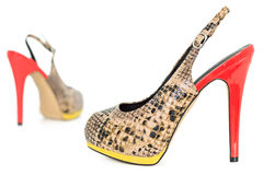 Snake Leather skin yellow and orange peep toe sling back pumps, Royalty Free Stock Photography