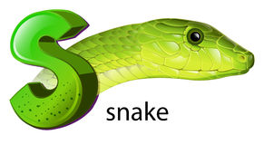 A snake and a letter S. Lllustration of a snake and a letter S on a white background Royalty Free Stock Photos