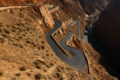 Snake like serpent road  in Dades Gorge, Morocco Stock Images