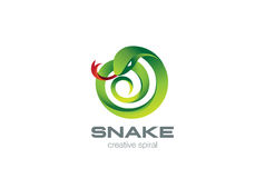 Snake Logo circle shape design vector. Viper Logo Royalty Free Stock Photo