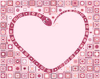 Snake love. The snake in an image of heart. A pink background with a geometrical, ornamental mosaic. New year 2013 Royalty Free Stock Photography