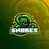 Snake mascot logo design vector with a modern color concept and badge emblem style for sports team. Snake illustration tshirt prin. Ting vector illustration