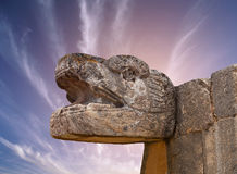 Snake Mayan Sculpture in Chichen Itza, Mexico Stock Photos