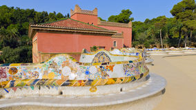 Snake mosaic bench in the park Guell Stock Photography