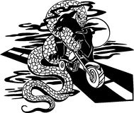 Snake and Motorcycle - Vector illustration. Royalty Free Stock Photo