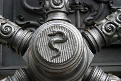 A snake. Old cannon detail. Royalty Free Stock Photos