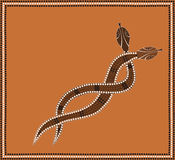 Snake pair. A illustration based on aboriginal style of dot painting depicting brown snake pair convoluted Royalty Free Stock Photography