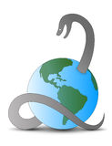 Snake pierces Earth. Huge and long snake pierces Earth stock illustration