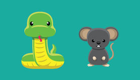 Snake Rat Doll Set Cartoon Vector Illustration Stock Images