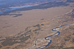 Snake River from the Air in Wyoming Stock Photo