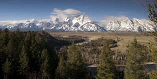 Snake River Cloud Cover Jagged Peaks Grand Teton Wyoming Panoram Royalty Free Stock Images