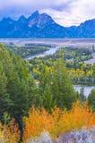Snake River förbiser - den storslagna Teton nationalparken Royaltyfri Foto