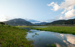 Snake River in the morning under clouds in Alpine Wyoming stock photography