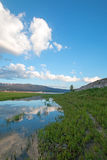 Snake River in the morning under cumulus cloudscape  in Alpine Wyoming Royalty Free Stock Images