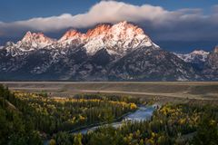Snake River Overlook. In Wyoming stock photos