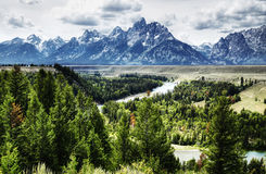 Snake river scenic. Scenic aerial view of Snake river with mountains and cloudscape in background, Grand Teton National Park, wyoming, U.S.A Stock Photography