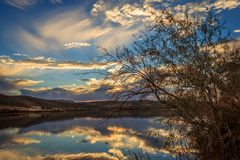 Snake River Sunset. The sun sets on the Snake River at Three Island State Park, Glenn`s Ferry, Idaho, USA stock photo