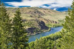 Snake River Valley. In Idaho with blue sky and white clouds royalty free stock photography