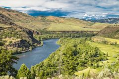 Snake River Valley in Idaho. With trees and clouds stock photos