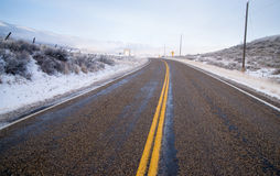 Snake River Valley Road Ranch Snow Falls Rural Farm Landscape Stock Images