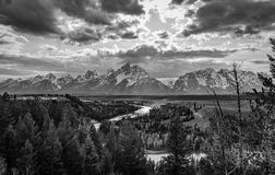 Snake river viewpoint with Grand Tetons Stock Images