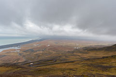 Snake Road in Iceland. Landscape. Cloudy Blue Sky. Wide Angle Stock Photography
