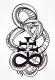 Snake with Satanic cross illustration. Royalty Free Stock Photos