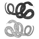 Snake set. Patterned snape silhouette royalty free illustration