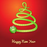 Snake in shape of a christmas tree. Card with a snake (symbol of 2013 year) in shape of a christmas tree Stock Image
