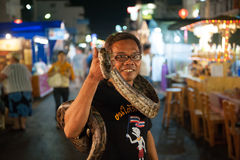 Snake show at the Night Market in Hua Hin Royalty Free Stock Photos