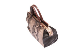 Snake skin leather bag Royalty Free Stock Image