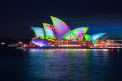Snake Skin Mathematical Pattern Projection on the Opera. Sydney, Australia -May 25, 2018: Vivid Sydney Festival at Opera House in Sydney Harbour, Australia. For Royalty Free Stock Photos