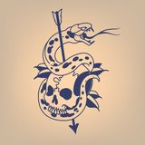 Snake on a skull pierced with an arrow. Traditional tattoo royalty free illustration