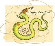 Snake smiles. Christmas card for 2013 snakes stock illustration