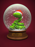 Snake in the snow globe. Symbol of New Year illustration Royalty Free Stock Photos