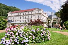 Snake spring colonnade in spa town Karlovy Vary, West Bohemia, Czech republic. KARLOVY VARY, CZECH REPUBLIC - JUL 6, 2017: Snake spring colonnade in spa town Royalty Free Stock Images
