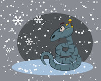 Snake surprised by winter snow. Fun humor cute snake character. Royalty Free Stock Photo