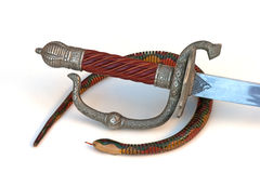 Snake surrounds sword handle with serpent Royalty Free Stock Photo