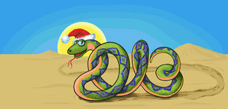 Snake symbol 2013. Snake crawling through the desert, which is similar to the number in 2013 Royalty Free Stock Image