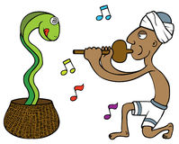 Snake Tamer. Showing a snake tamer playing a flute. Well layered vector eps 8 file Royalty Free Stock Photo