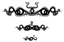 Snake tattoo. Isolated snakes as a frame or sign Royalty Free Stock Images