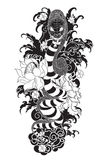 Snake tattoo with Sakura and Peony flower. Hand drawn Oni skull entwined by snake.japanese tattoo ; oni mask and snake tattoo Royalty Free Stock Image