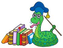 Snake teacher with books Stock Photo