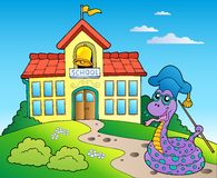 Snake teacher with school building Stock Photography