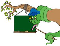 Snake teacher with table on tree Royalty Free Stock Images