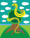 Snake and tree of life. Royalty Free Stock Image