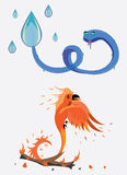 Snake from water, a bird from fire. Illustration Stock Photography