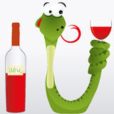 Snake and wine. Drunk snake keeps wine goblet its tail and licked in anticipation of alcohol,  illustration additional Royalty Free Stock Photo